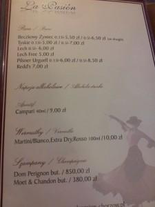 Menu restauracji La Pasion w Chorzowie